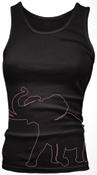 Black/Hot Pink Outline Pachyderm Comfort Color Tank Top