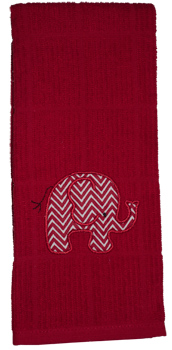 Crimson/White Thin Chevron Elephant Applique Dish Towel