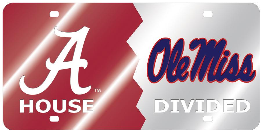Ole Miss House Divided Mirror Car Tag