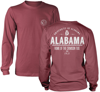 Alabama State Retro Comfort Colors Long Sleeve Pocket Tee