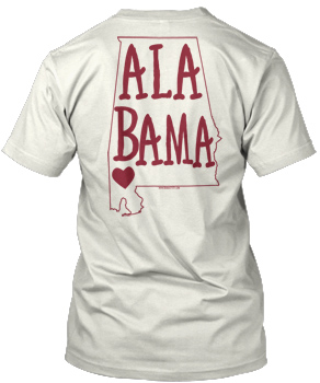 Ivory Comfort Colors ALABAMA State Heart Tee