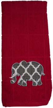 Lattice Applique Elephant Crimson Dish Towel