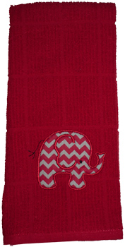 Crimson/Grey Chevron Elephant Crimson Dish Towel