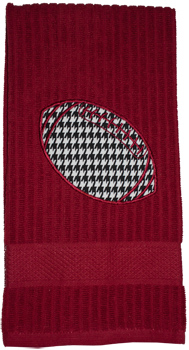 Houndstooth Football Applique Crimson Dish Towel