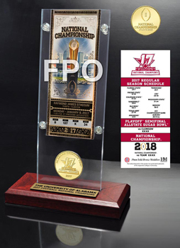 National Champs Ticket & Bronze Coin Acrylic Desktop Set