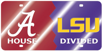 LSU Divided Mirror Car Tag