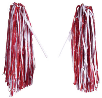 Crimson/White Pom-Pom Gameday Shakers