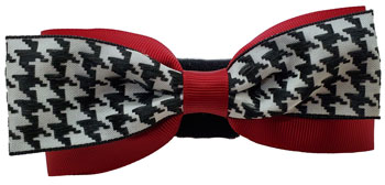Houndstooth Dog Collar Bow Tie