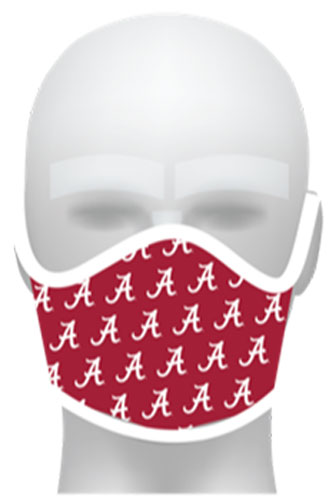 Crimson Repeating Script A Flat Front Face Mask
