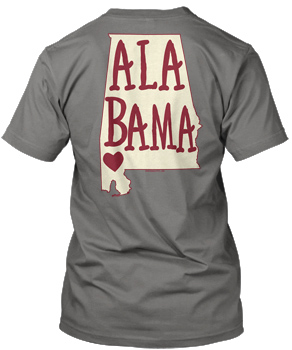 Grey Comfort Colors ALABAMA State Heart Tee